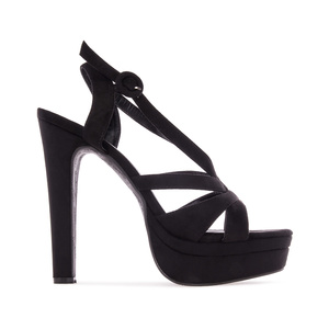 Letní obuv na extravysokém podpatku. Celosemišová. Černá.