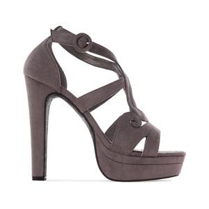 Elegantní pásková obuv na extravysokém podpatku. Celosemišová. Šedá.