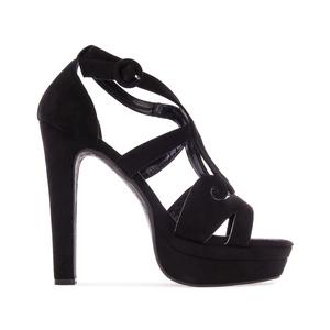 Elegantní pásková obuv na extravysokém podpatku. Celosemišová. Černá.