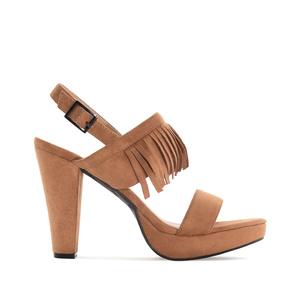 Vysoké semišové páskové sandále se střapci. Hnědá camel.