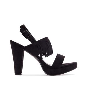 Vysoké semišové páskové sandále s třásněmi. Černá.