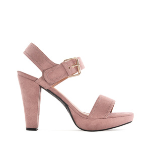 Platform Sandals in Light Brown Suede