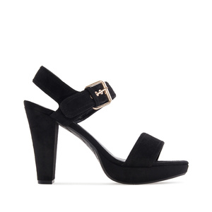 Platform Sandals in Black Suede