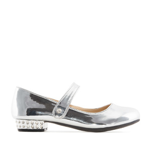 Mary Janes for little girls in Silver Patent