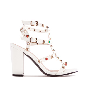 Stud Sandals in White faux Leather