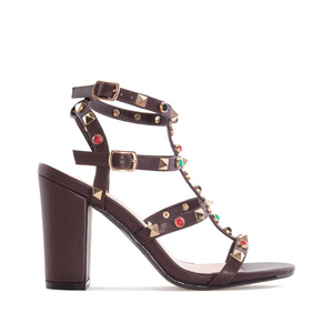 Stud Sandals in Brown faux Leather