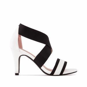Páskové sandále na podpatku. Elastický pás přes nárt. Bíločerné.