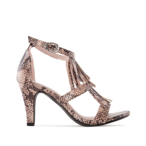Double Tassle Sandals in Brown Snake Print