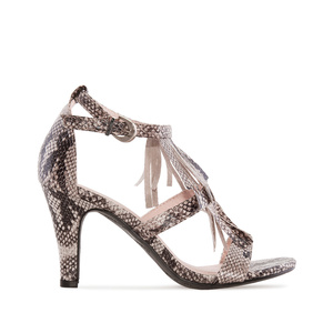 Double Tassle Sandals in Grey Snake Print