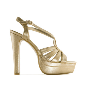 Gold faux Leather Platform Sandals