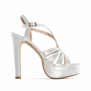 Silver faux Leather Platform Sandals