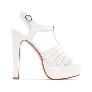 T-Bar Platform Sandals in White faux Leather