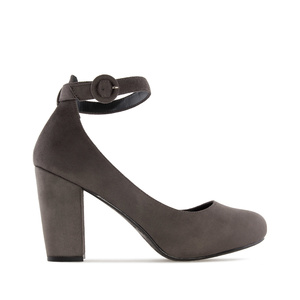 Ankle-Tie Pumps in Grey Suede