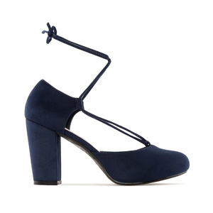 Ankle-Tie Heeled Shoes in Navy Suede
