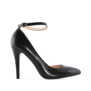 Ankle-Tie Stilettos in Black faux Leather