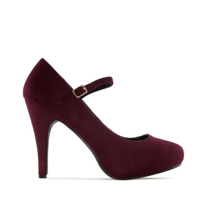 Mary Jane Stilettos in Burgundy Suede