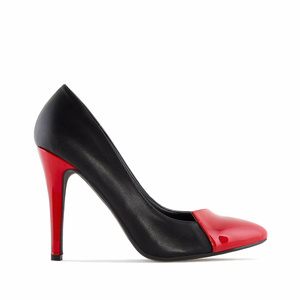 Pumps in Black faux Leather with Red Patent Tip & Heel