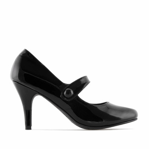 Mary Jane Heeled Shoes in Black Patent