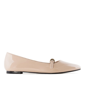 Mary Jane Ballet Flats in Beige Patent