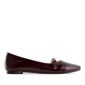 Mary Jane Ballet Flats in Burgundy Patent