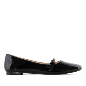 Mary Jane Ballet Flats in Black Patent