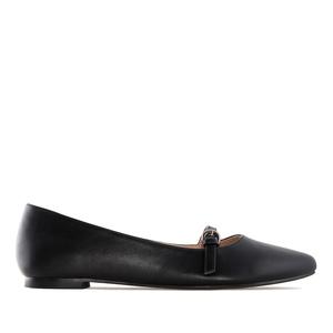 Loafer aus schwarzem Lederimitat mit schlanker Spitze