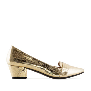 Moccasin Heeled Shoes in Gold Snake Print