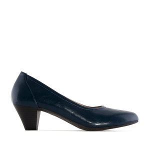 Wide Width Shoes in Navy faux Leather