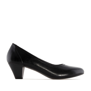 Wide Width Shoes in Black faux Leather