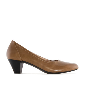 Wide Width Shoes in Saddle Brown faux Leather