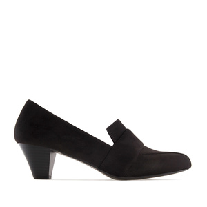 Moccasin Heeled Shoes in Black Suede