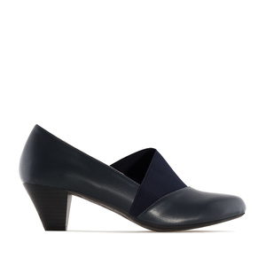 Elastic Heeled Shoes in Navy faux Leather