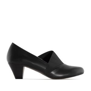 Elastic Heeled Shoes in Black faux Leather