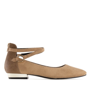 Ankle-Tie Ballet Flats in Camel Suede