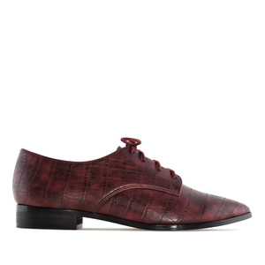 Pointed Toe Blucher in Burgundy Snake Print