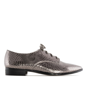 Pointed Toe Blucher in Silver Snake Print