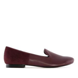 Slipper Cut Flats Burgundy Combi