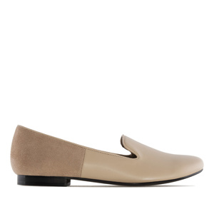 Slipper Cut Flats Beige Combi