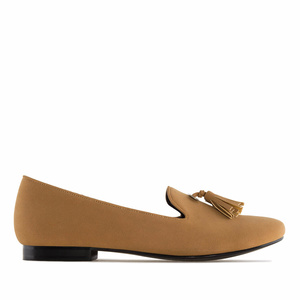 Tassle Slipper Cut Flats in Brown Suede