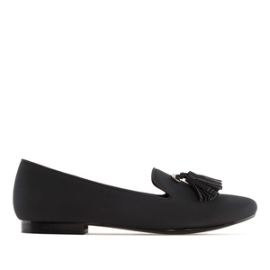 Tassle Slipper Cut Flats in Black Suede