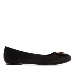 Ballet Flats in Black Suede, with detail