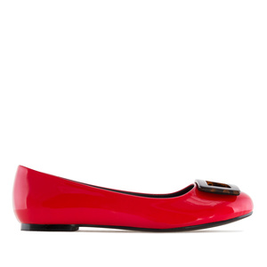 Ballet Flats in Red Patent, with detail