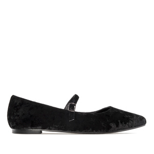 Ballerines Mary Jane Velours Noir