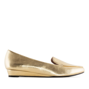 Slipper Cut Wedge Moccasins in Gold faux Leather