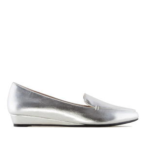 Slipper Cut Wedge Moccasins in Silver faux Leather