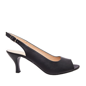 Otvorene sandale sa nižom petom, crne