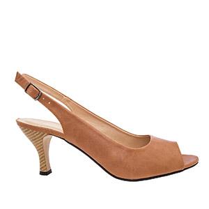 Otvorene sandale sa nižom petom, svetlo smeđe