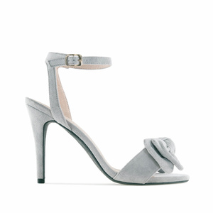 Grey Suede Bow Sandals