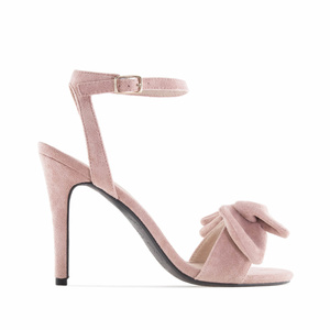 Nude Suede Bow Sandals