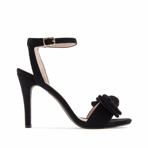 Black Suede Bow Sandals